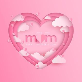 Banner do dia das mães com coração em fundo rosa