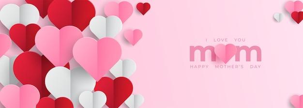 Banner do dia das mães com corações