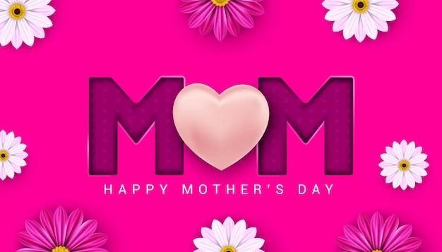 Banner do dia das mães feliz na ilustração de fundo rosa