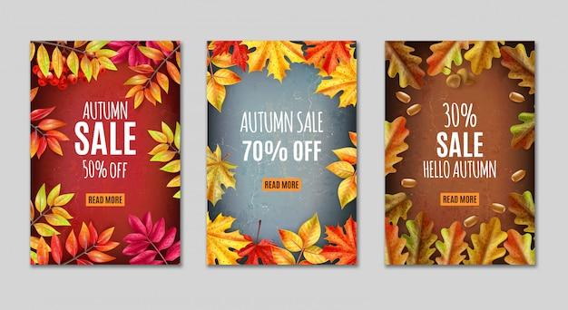 Banner do dia de ação de graças ou tag conjunto com descrições de venda de outono e folhas de laranja em torno de ilustração vetorial