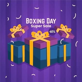 Banner do dia de boxe com presentes