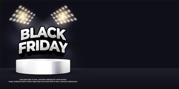 Banner do dia de compras da black friday na cena do pódio do produto com espaço de texto