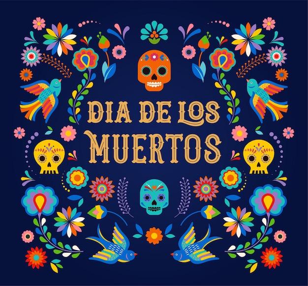 Banner do dia de los moertos do dia dos mortos com festa de cartaz de festa de festa de festa de flores mexicanas coloridas
