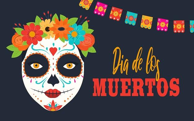 Banner do dia de los muertos com flores mexicanas coloridas