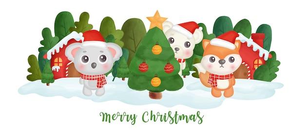 Banner do dia de natal com animais fofos na aldeia de neve.