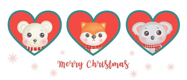 Banner do dia de natal com animais fofos.