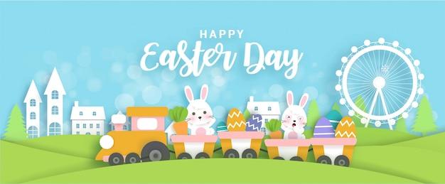 Banner do dia de páscoa com coelhos bonitos em pé em um trem. estilo de corte de papel.