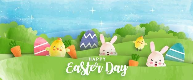 Banner do dia de páscoa com galinhas bonitinha, coelho e ovos de páscoa no estilo de cor de água.