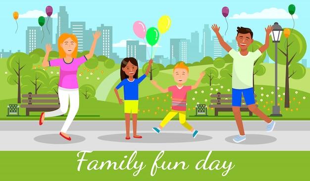 Banner do dia do divertimento da família