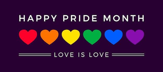 Banner do dia do orgulho com bandeira de corações