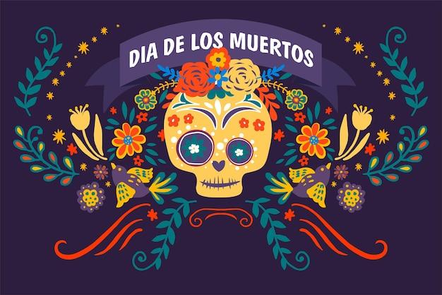 Banner do dia dos mortos com flora e folhagens decorativas