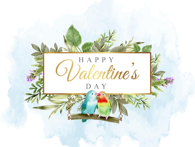 Banner do dia dos namorados com adorável periquito e design floral