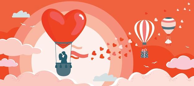 Banner do dia dos namorados com balões, um casal, corações.