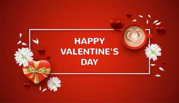 Banner do dia dos namorados com caixa de presente em formato de coração, flores brancas e uma xícara de café
