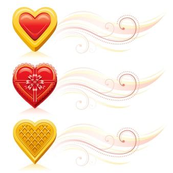 Banner do dia dos namorados com comida romântica. cookie de coração de desenho animado, caixa de chocolate, cookie de waffle.