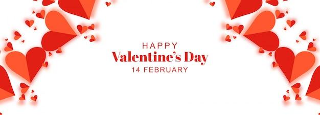 Banner do dia dos namorados com corações de origami