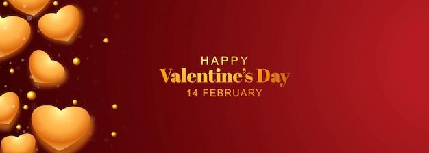 Banner do dia dos namorados com corações de ouro