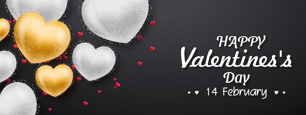 Banner do dia dos namorados com corações em preto