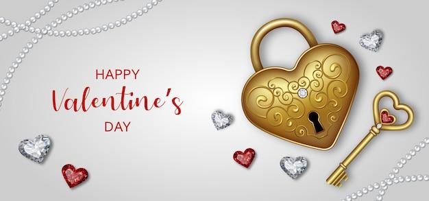 Banner do dia dos namorados com diamantes em forma de coração e cadeado dourado