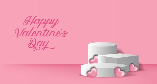 Banner do dia dos namorados com display de produto no pódio, cilindro 3d e ilustração em forma de coração