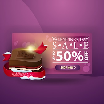 Banner do dia dos namorados com doces de chocolate