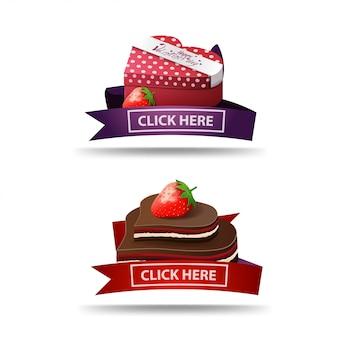 Banner do dia dos namorados com fita, botão, presentes e doces de chocolate