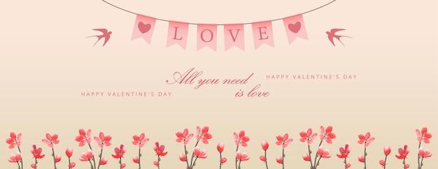 Banner do dia dos namorados com flores e flâmulas festivas decorativas penduradas com o texto amor