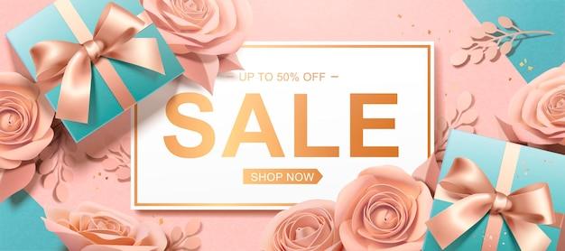 Banner do dia dos namorados com rosas de papel e banner com caixas de presente em ângulo de visão superior, ilustração 3d