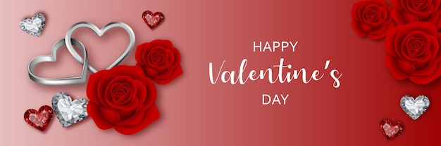 Banner do dia dos namorados com rosas vermelhas, diamantes e anéis em forma de coração