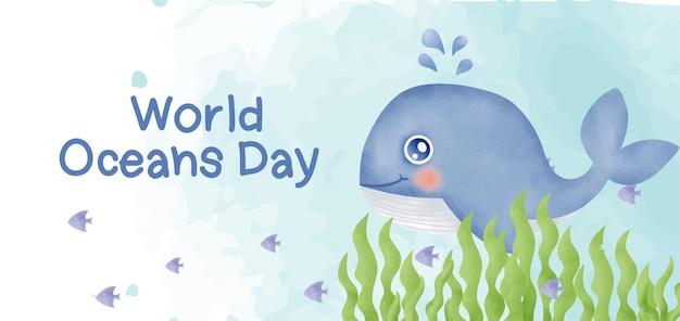 Banner do dia dos oceanos do mundo com golfinho fofo em estilo aquarela.