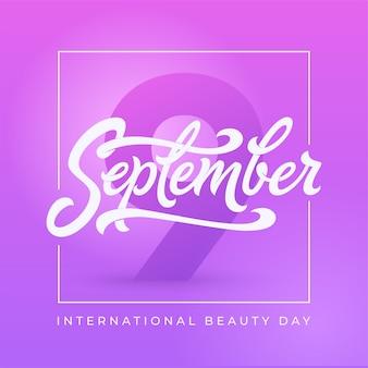 Banner do dia internacional da beleza com moldura quadrada. tipografia de 9 de setembro. linda para cartão de felicitações, certificado, desconto, banner de mídia social.