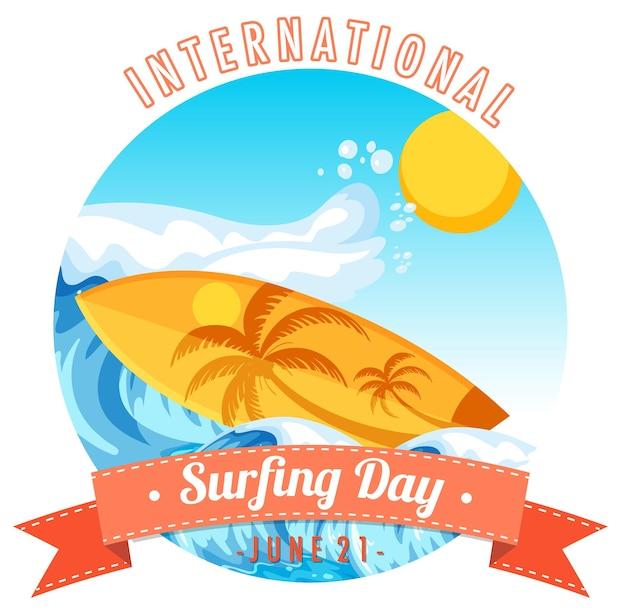 Banner do dia internacional do surf com prancha de surf na onda de água isolada