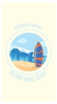 Banner do dia internacional do surfe em estilo cartoon