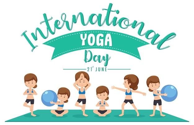 Banner do dia internacional do yoga com mulher fazendo diferentes poses de ioga