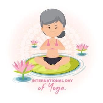 Banner do dia internacional do yoga com uma velha fazendo exercícios de ioga