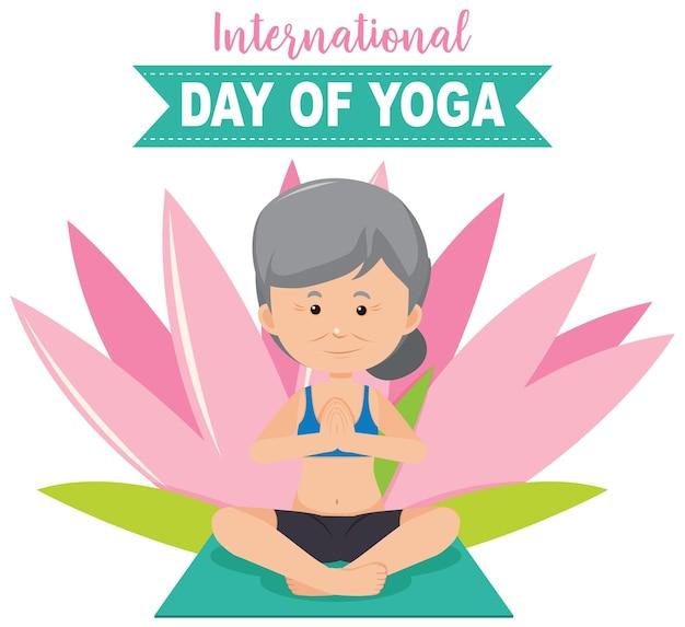 Banner do dia internacional do yoga com uma velha fazendo pose de ioga