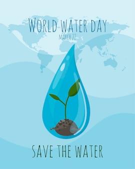 Banner do dia mundial da água com uma inscrição. uma gota d'água e um broto nela. conservação da água - conservação da terra