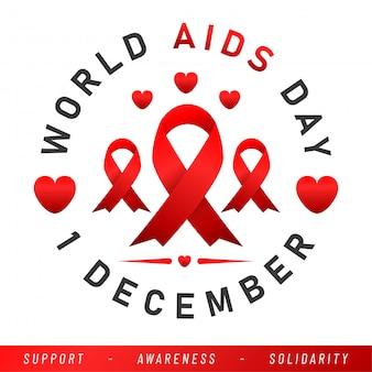 Banner do dia mundial da aids. aids awareness red ribbon.