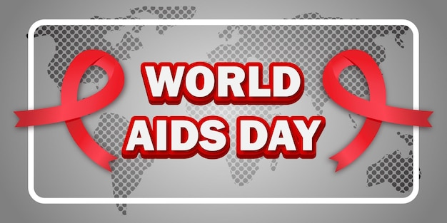 Banner do dia mundial da aids realista com fundo do mapa mundial