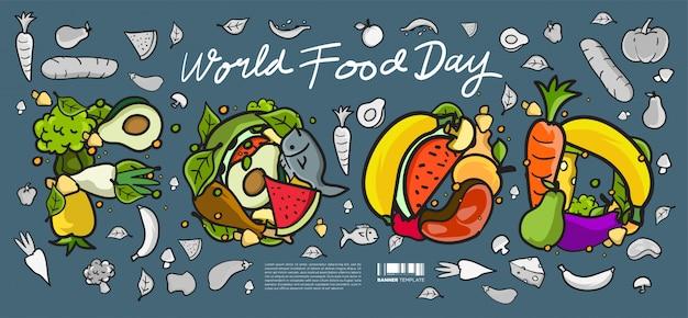 Banner do dia mundial da comida. vários alimentos, frutas e legumes
