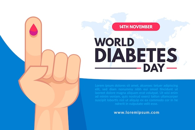 Banner do dia mundial da diabetes com ilustração