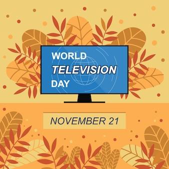 Banner do dia mundial da televisão ilustração em vetor outono com folhas coloridas e televisão
