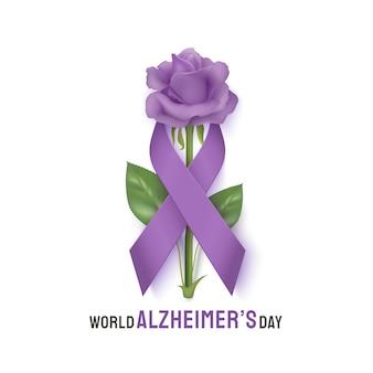 Banner do dia mundial de alzheimer com fita e rosa sobre um fundo claro. dia de fita roxa