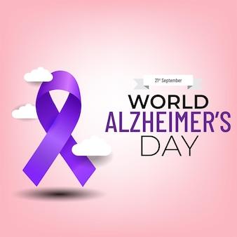 Banner do dia mundial de alzheimer com fita roxa sobre fundo claro.