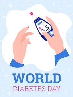Banner do dia mundial do diabetes com as mãos fazendo ilustração vetorial de teste de sangue