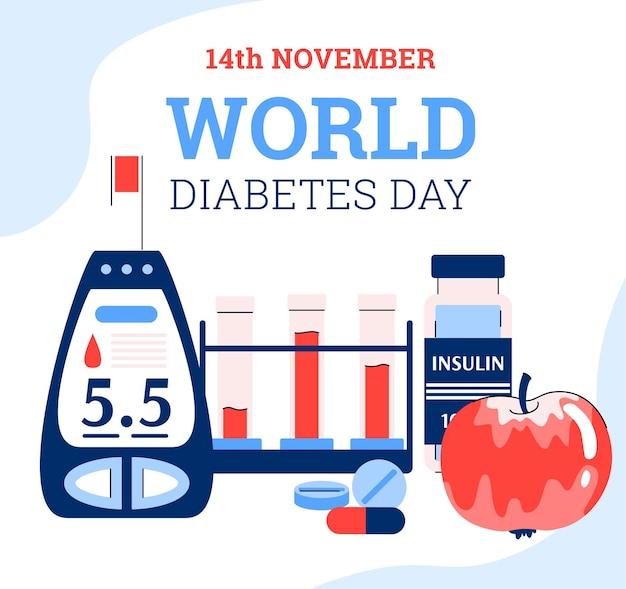 Banner do dia mundial do diabetes com ilustração em vetor de desenhos animados planos com glicosímetro