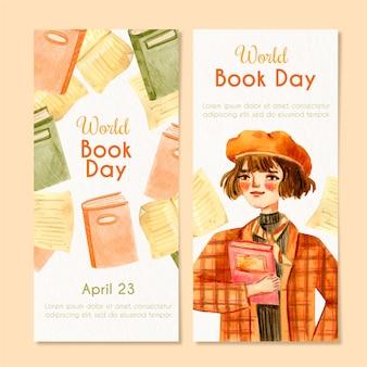 Banner do dia mundial do livro em aquarela