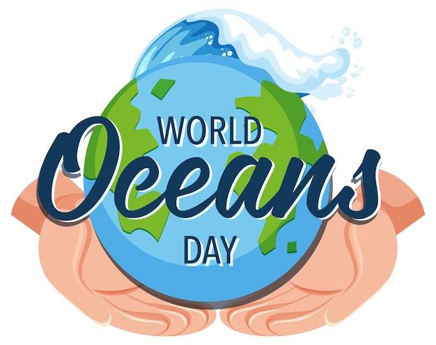 Banner do dia mundial do oceano com as mãos segurando a terra isolada