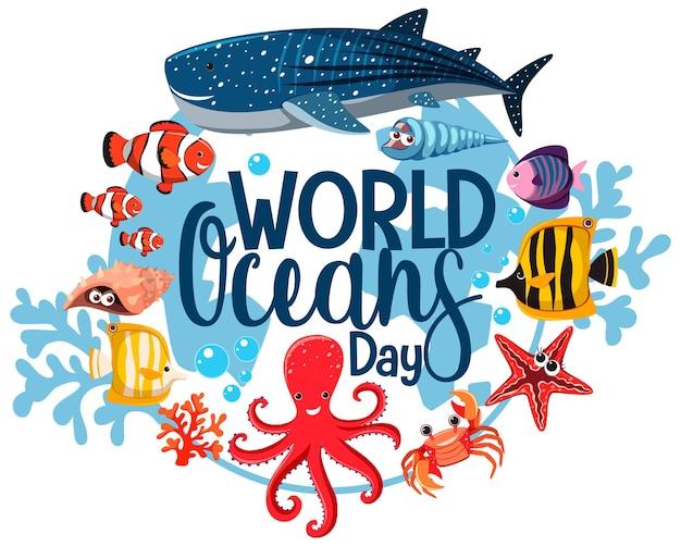 Banner do dia mundial do oceano com muitos animais marinhos diferentes