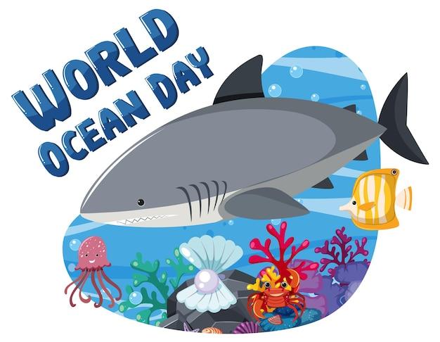 Banner do dia mundial do oceano com um grande tubarão e animais marinhos